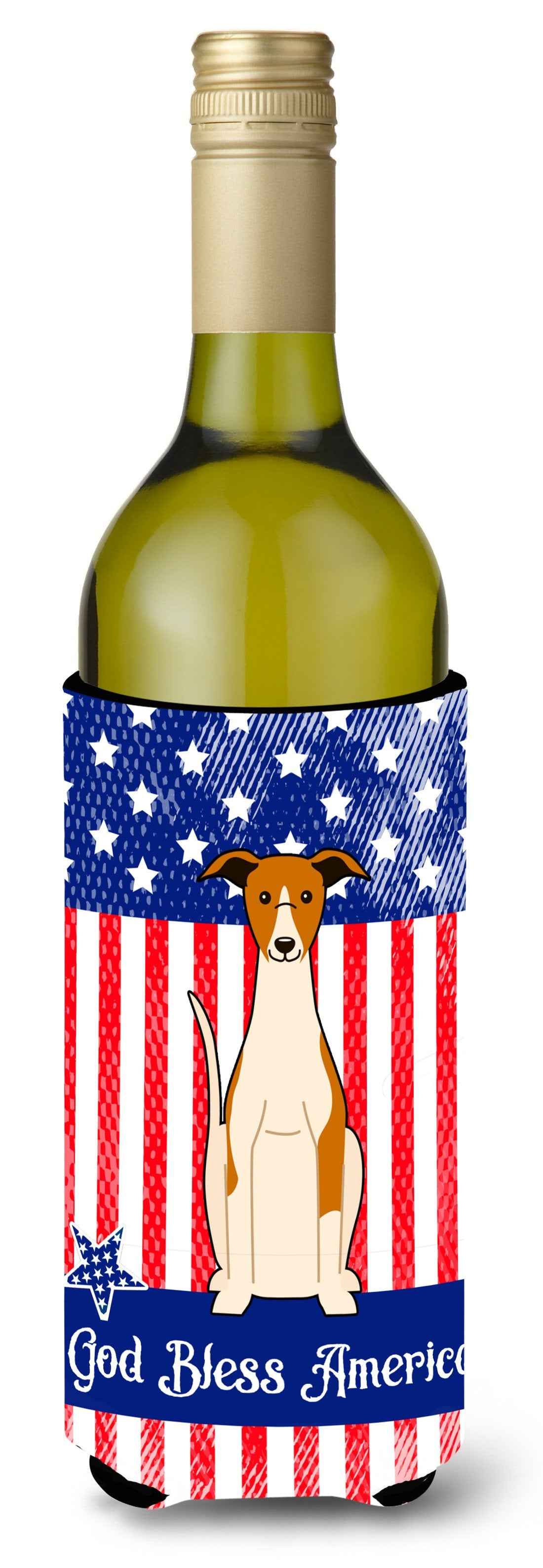 Patriotic USA Whippet Wine Bottle Beverge Insulator Hugger BB3094LITERK by Caroline's Treasures
