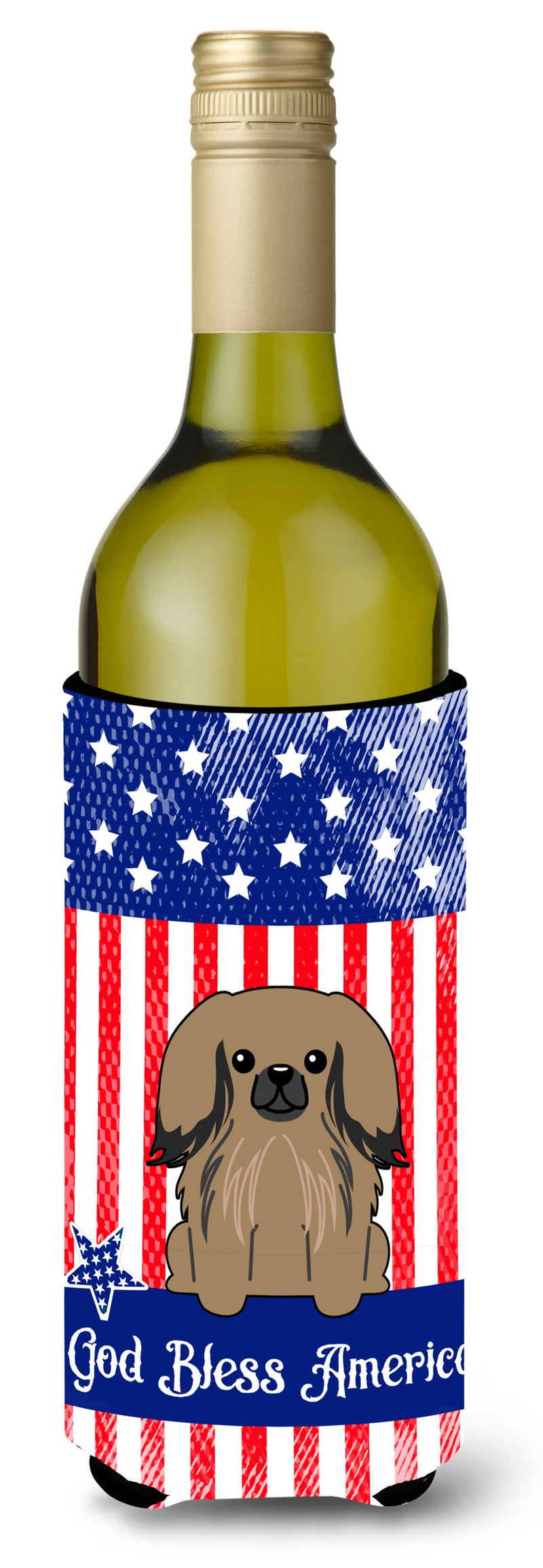 Buy this Patriotic USA Pekingnese Tan Wine Bottle Beverge Insulator Hugger