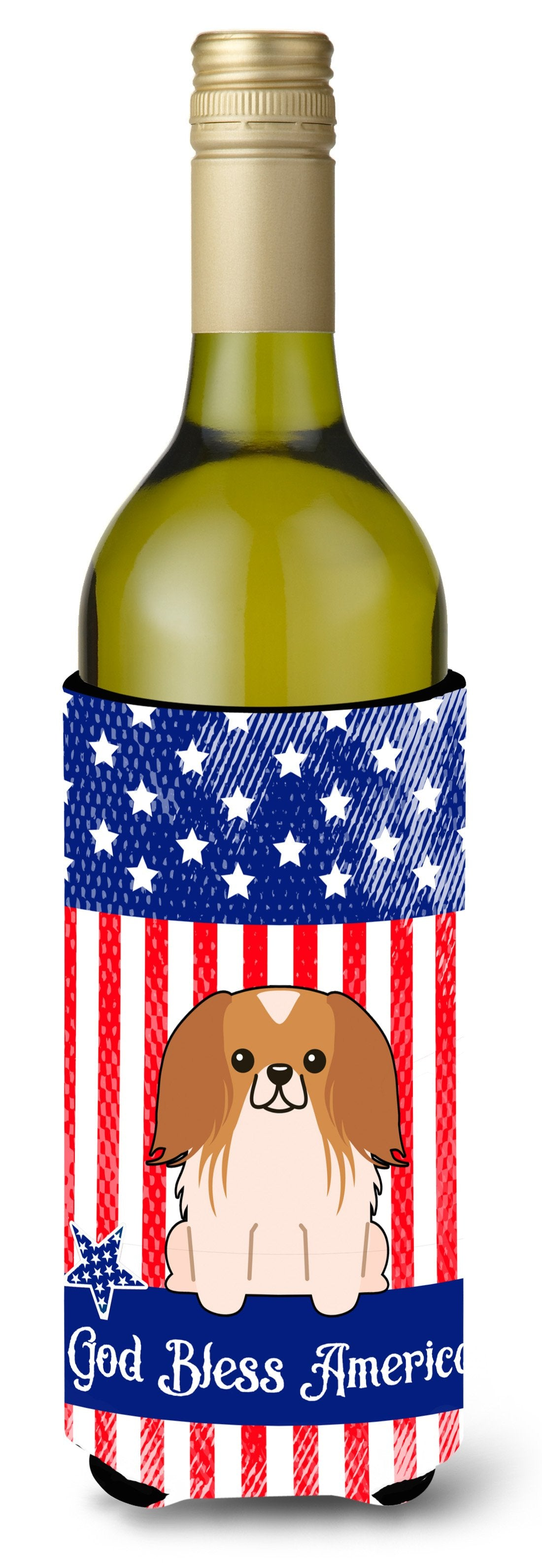 Buy this Patriotic USA Pekingnese Red White Wine Bottle Beverge Insulator Hugger BB3098LITERK