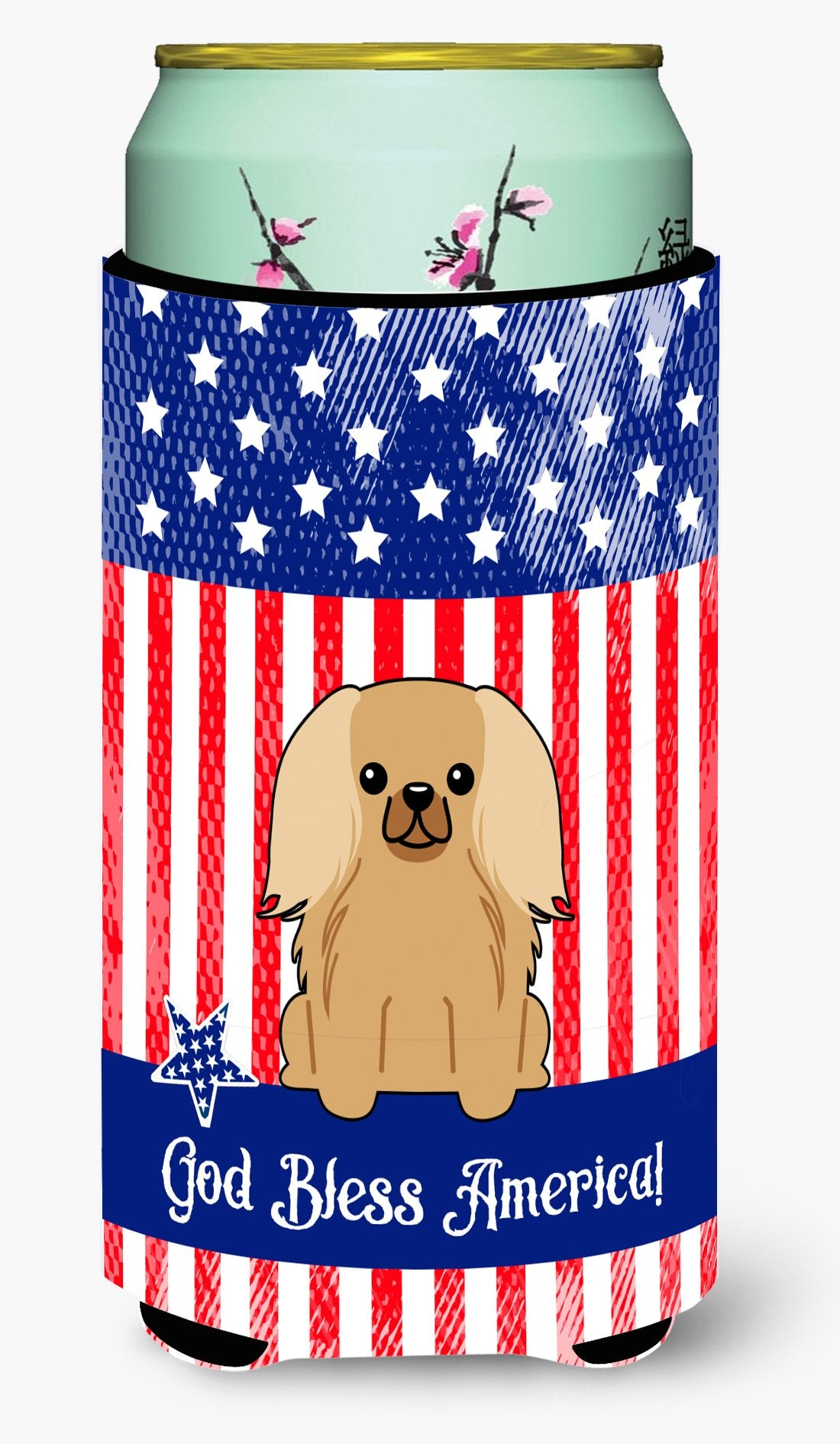 Buy this Patriotic USA Pekingnese Fawn Sable Tall Boy Beverage Insulator Hugger