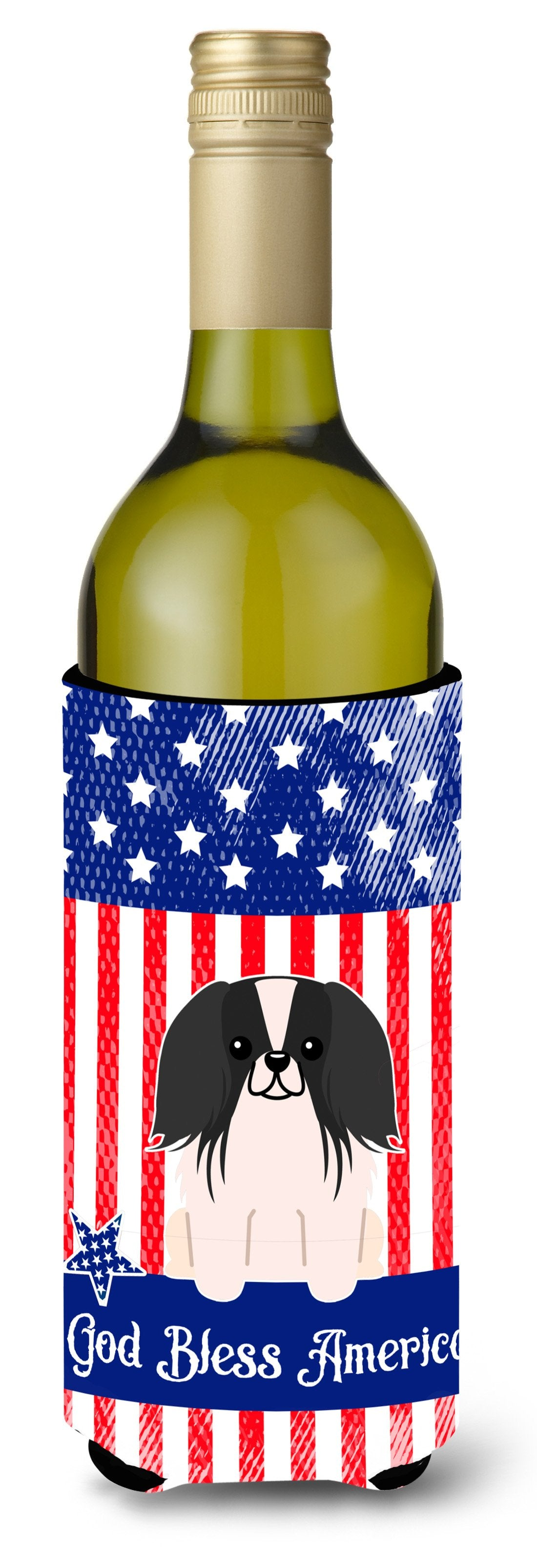 Buy this Patriotic USA Pekingnese Black White Wine Bottle Beverge Insulator Hugger BB3100LITERK