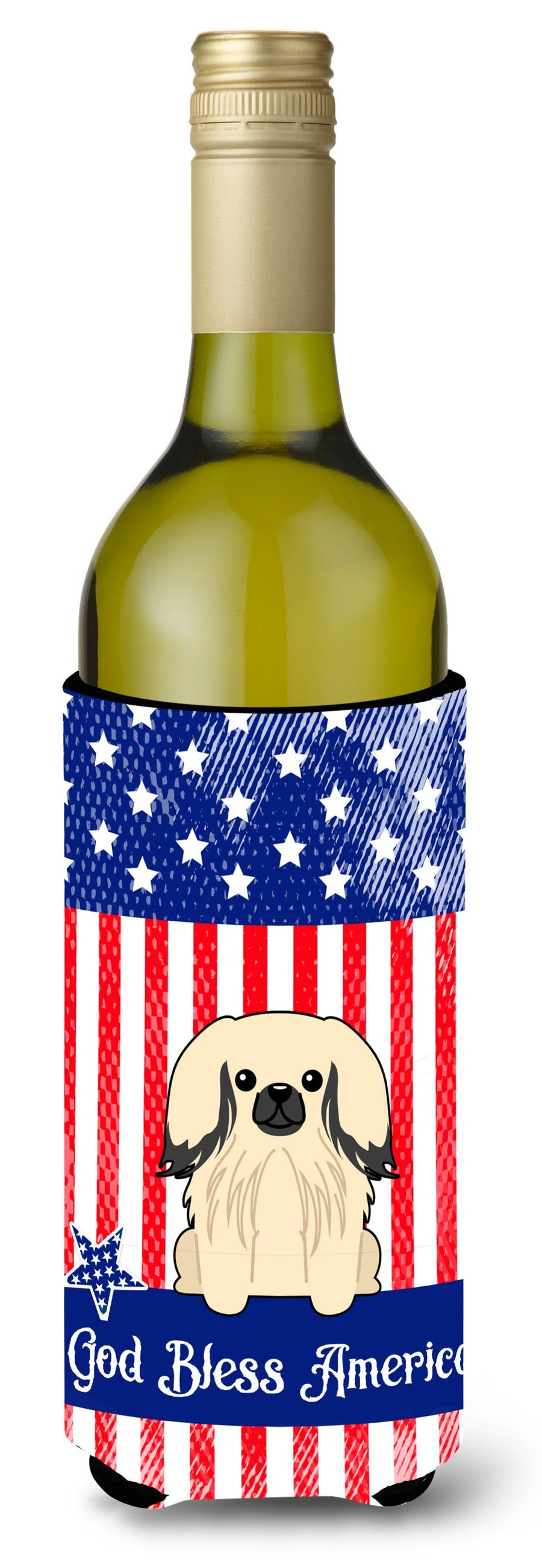 Buy this Patriotic USA Pekingnese Cream Wine Bottle Beverge Insulator Hugger