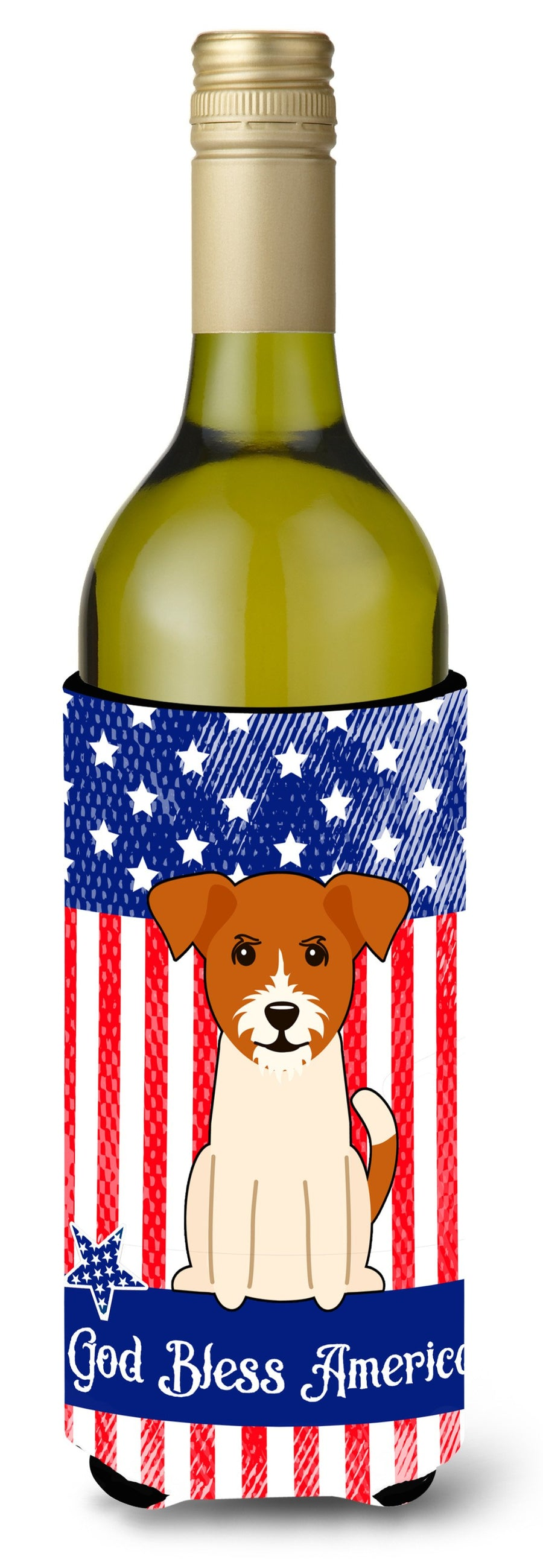 Buy this Patriotic USA Jack Russell Terrier Wine Bottle Beverge Insulator Hugger