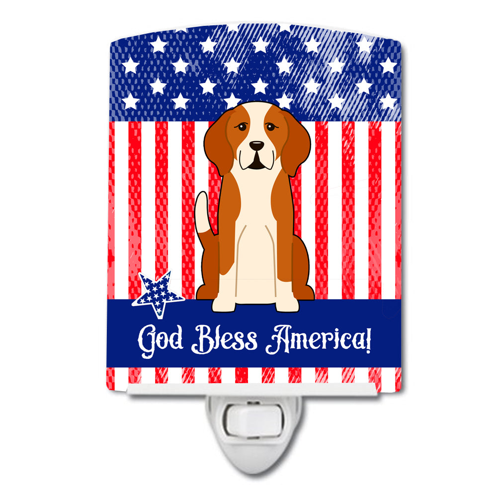 Patriotic USA English Foxhound Ceramic Night Light BB3105CNL by Caroline's Treasures