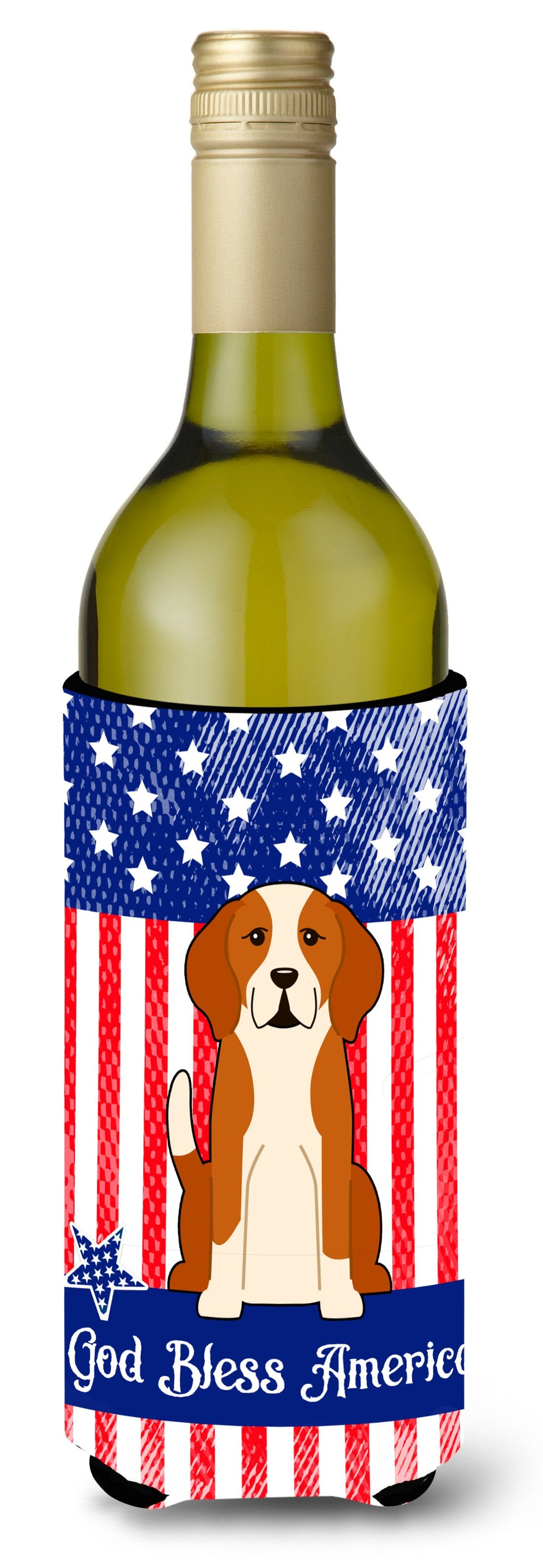 Patriotic USA English Foxhound Wine Bottle Beverge Insulator Hugger by Caroline's Treasures