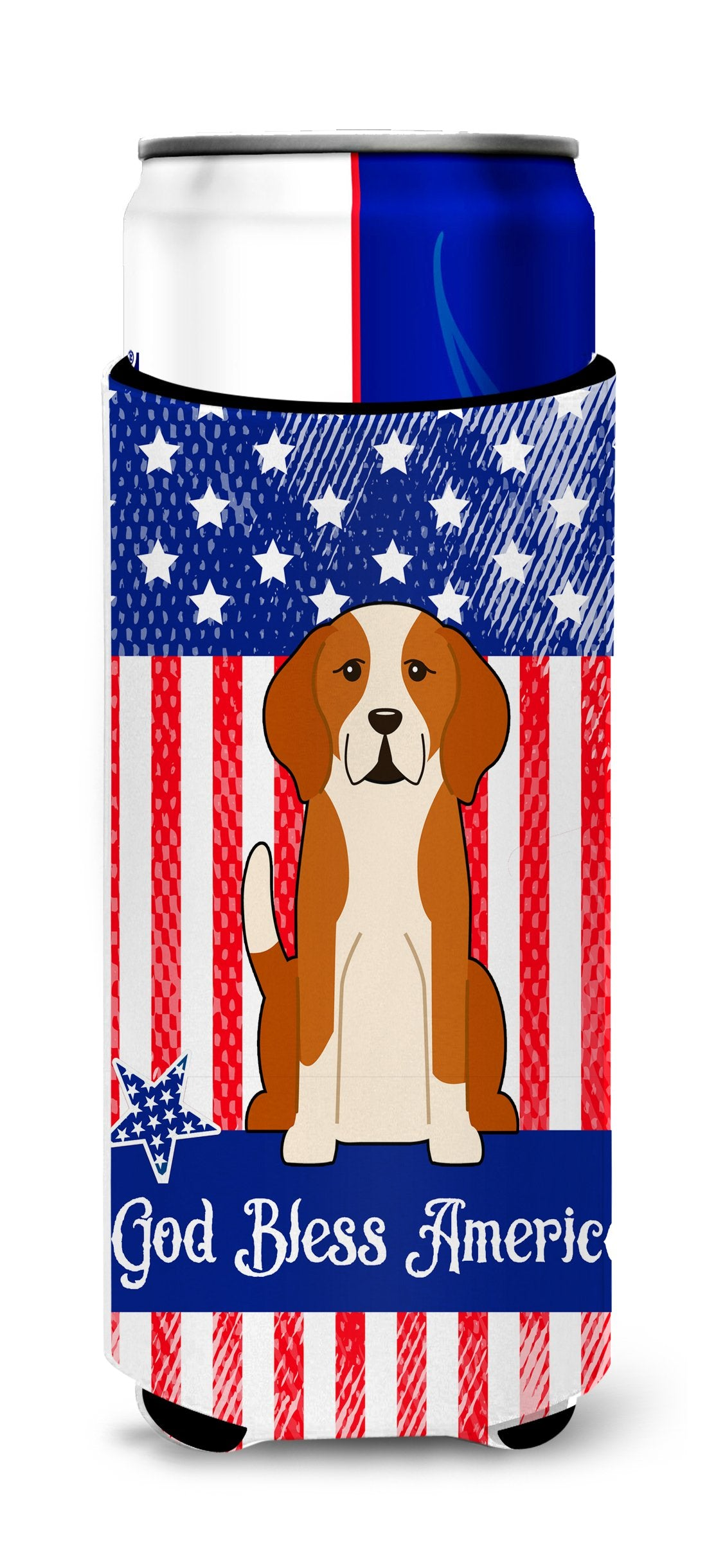 Patriotic USA English Foxhound Michelob Ultra Hugger for slim cans BB3105MUK by Caroline's Treasures