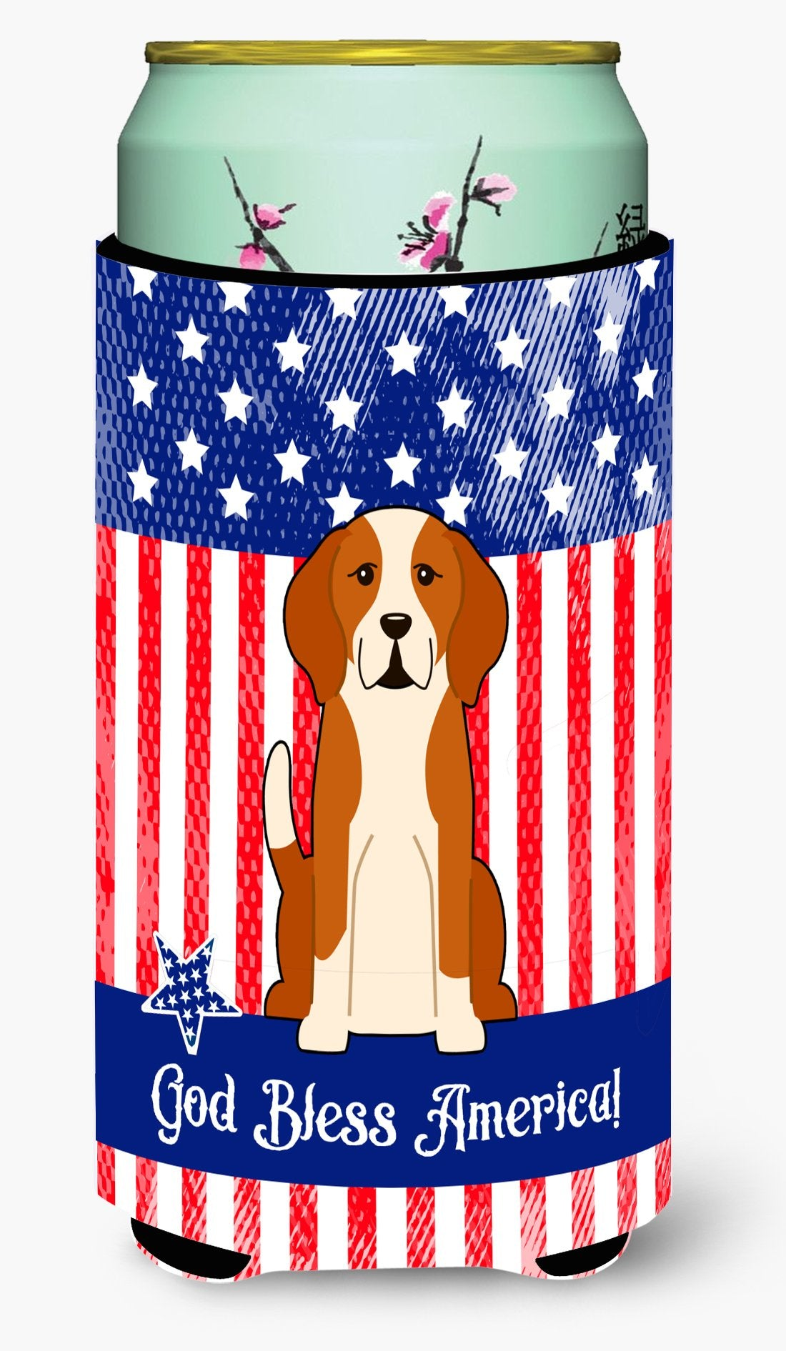 Buy this Patriotic USA English Foxhound Tall Boy Beverage Insulator Hugger