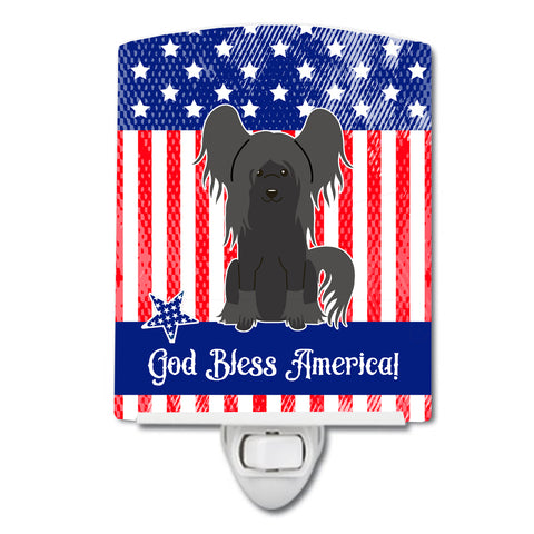 Buy this Patriotic USA Chinese Crested Black Ceramic Night Light BB3107CNL