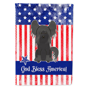 Buy this Patriotic USA Chinese Crested Black Flag Garden Size BB3107GF