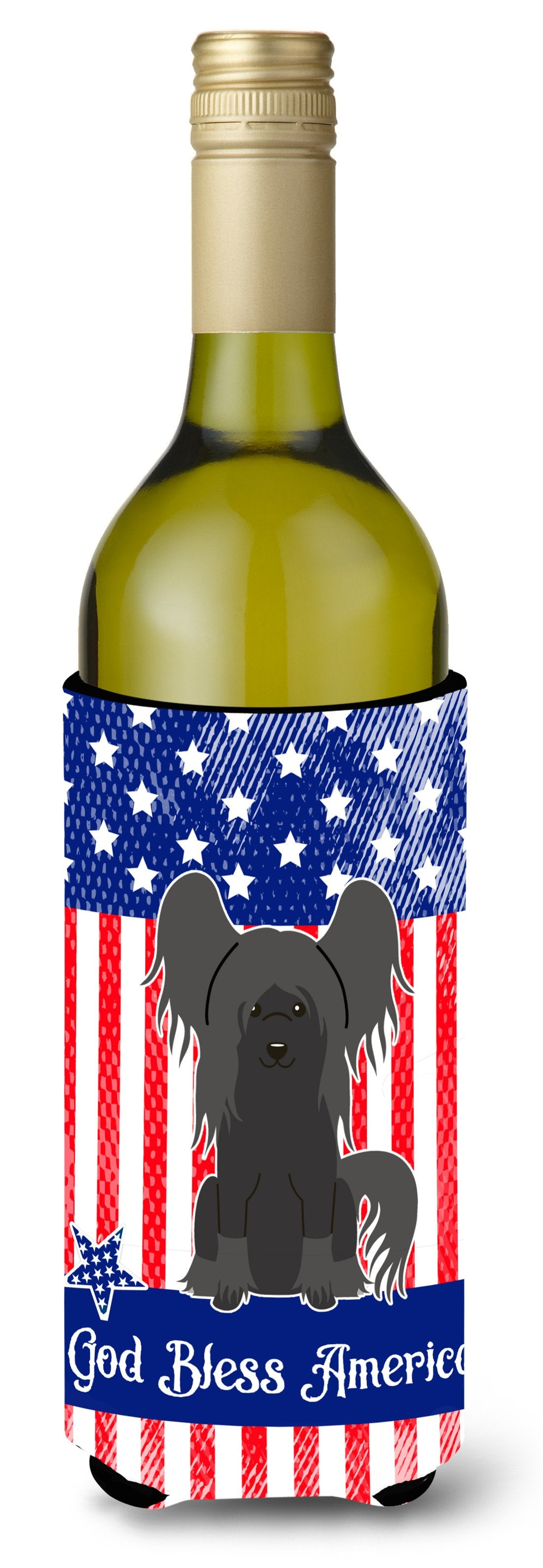Buy this Patriotic USA Chinese Crested Black Wine Bottle Beverge Insulator Hugger BB3107LITERK