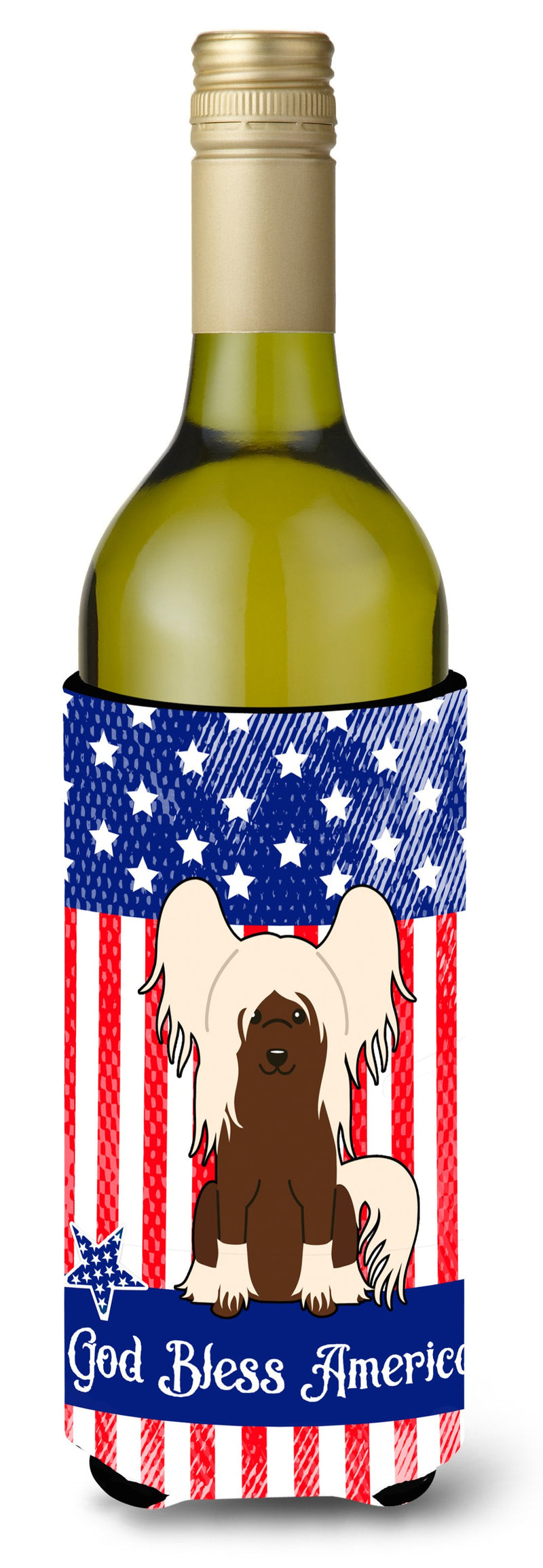 Buy this Patriotic USA Chinese Crested Cream Wine Bottle Beverge Insulator Hugger