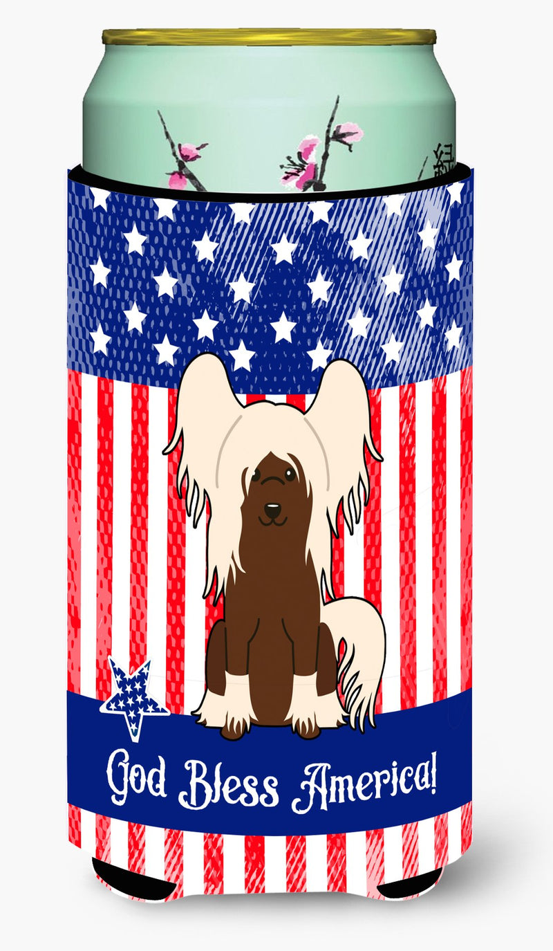 Buy this Patriotic USA Chinese Crested Cream Tall Boy Beverage Insulator Hugger