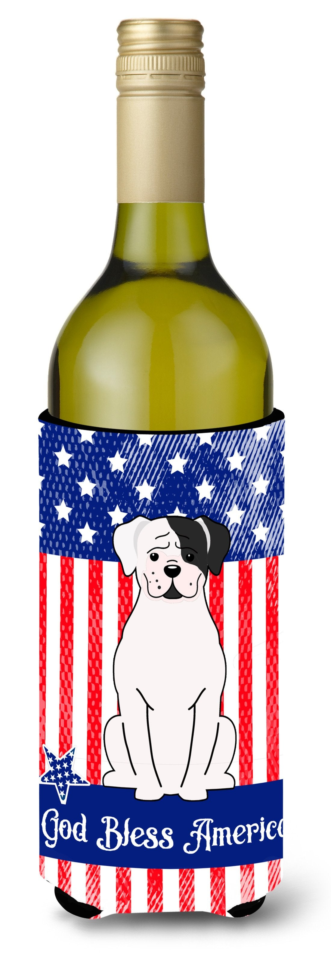 Buy this Patriotic USA White Boxer Cooper Wine Bottle Beverge Insulator Hugger