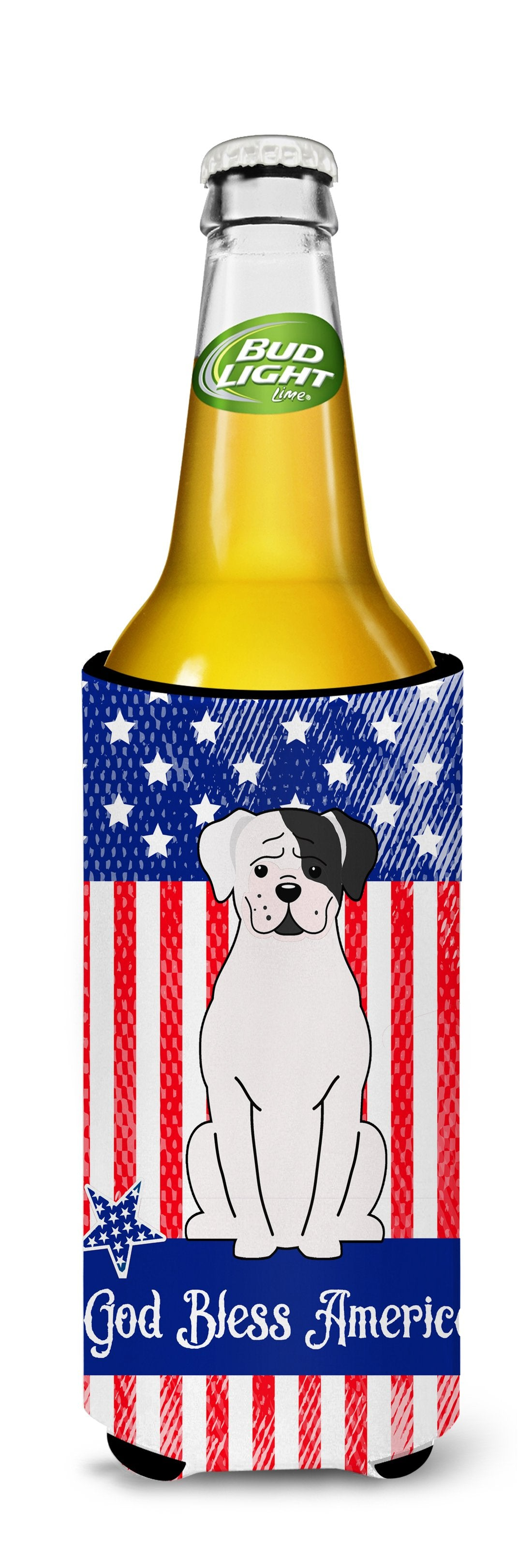 Patriotic USA White Boxer Cooper Michelob Ultra Hugger for slim cans BB3109MUK by Caroline's Treasures