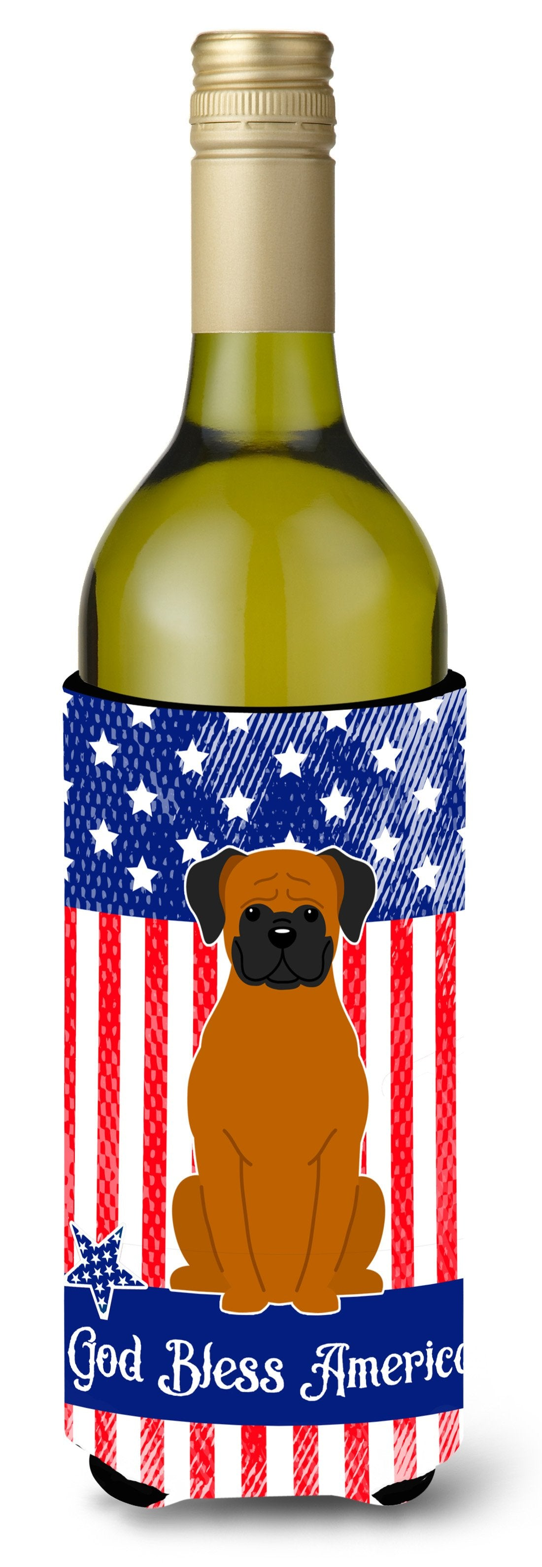 Buy this Patriotic USA Fawn Boxer Wine Bottle Beverge Insulator Hugger BB3110LITERK