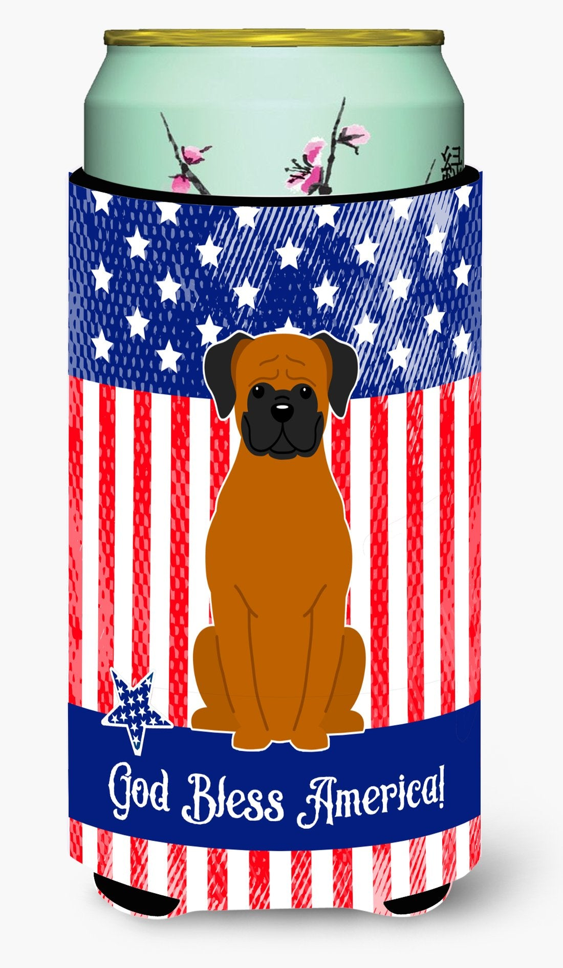 Buy this Patriotic USA Fawn Boxer Tall Boy Beverage Insulator Hugger