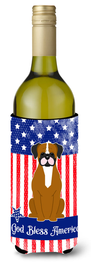 Buy this Patriotic USA Flashy Fawn Boxer Wine Bottle Beverge Insulator Hugger