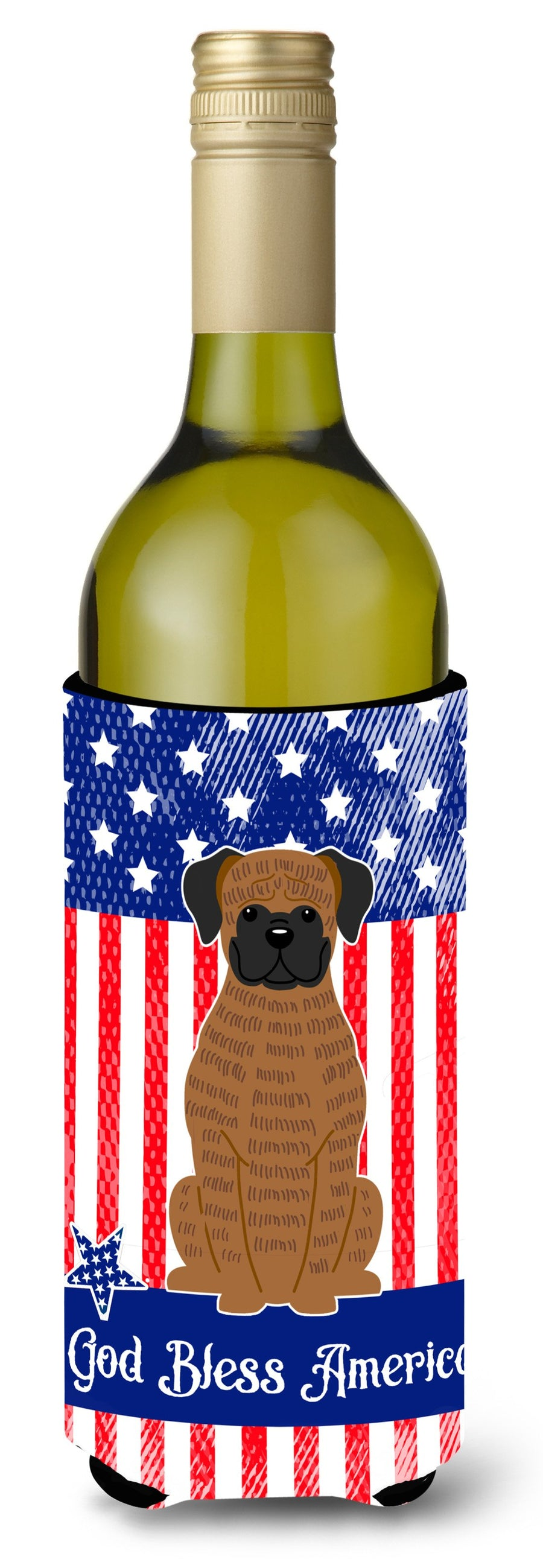 Buy this Patriotic USA Brindle Boxer Wine Bottle Beverge Insulator Hugger BB3112LITERK