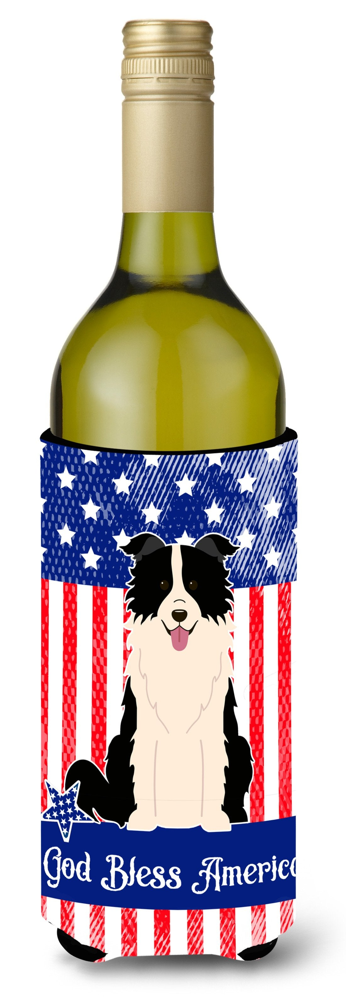 Patriotic USA Border Collie Black White Wine Bottle Beverge Insulator Hugger by Caroline's Treasures