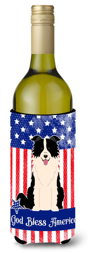 Buy this Patriotic USA Border Collie Black White Wine Bottle Beverge Insulator Hugger