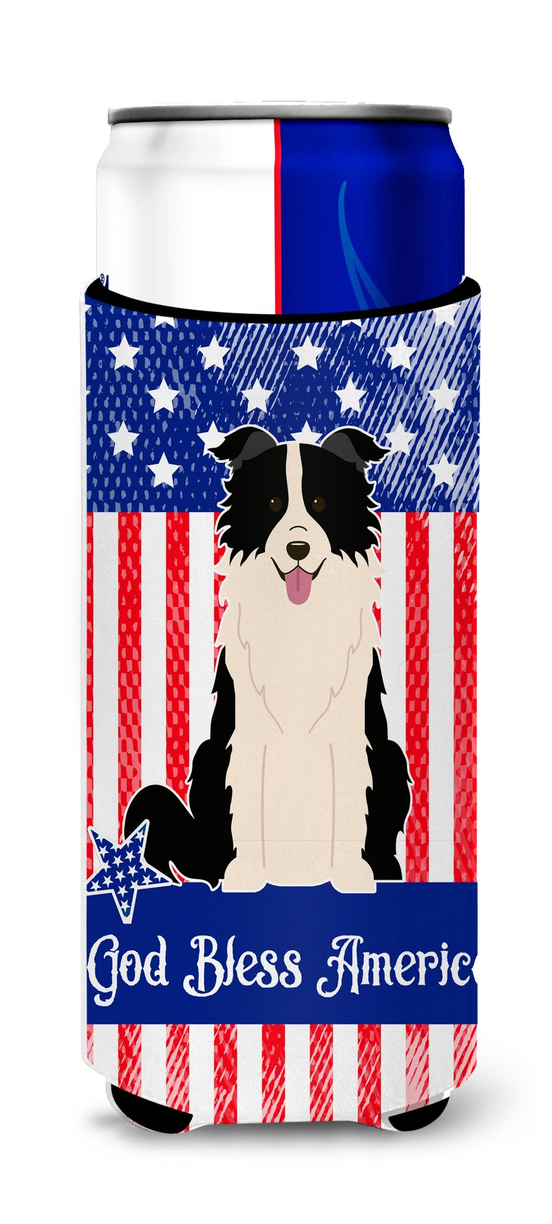 Patriotic USA Border Collie Black White Michelob Ultra Hugger for slim cans BB3113MUK by Caroline's Treasures