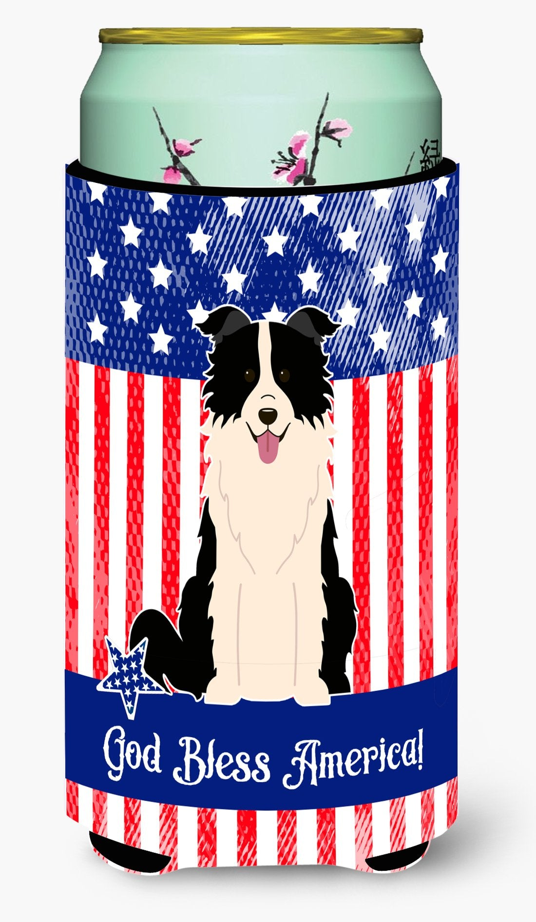 Patriotic USA Border Collie Black White Tall Boy Beverage Insulator Hugger BB3113TBC by Caroline's Treasures