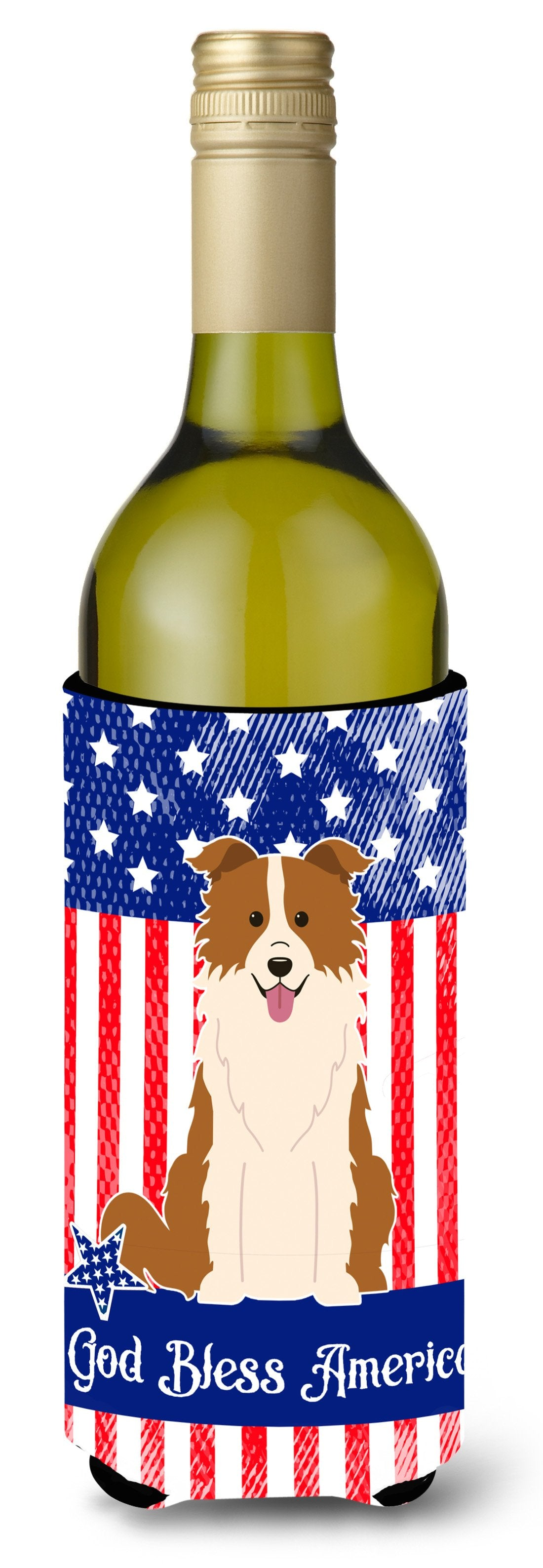 Patriotic USA Border Collie Red White Wine Bottle Beverge Insulator Hugger BB3114LITERK by Caroline's Treasures
