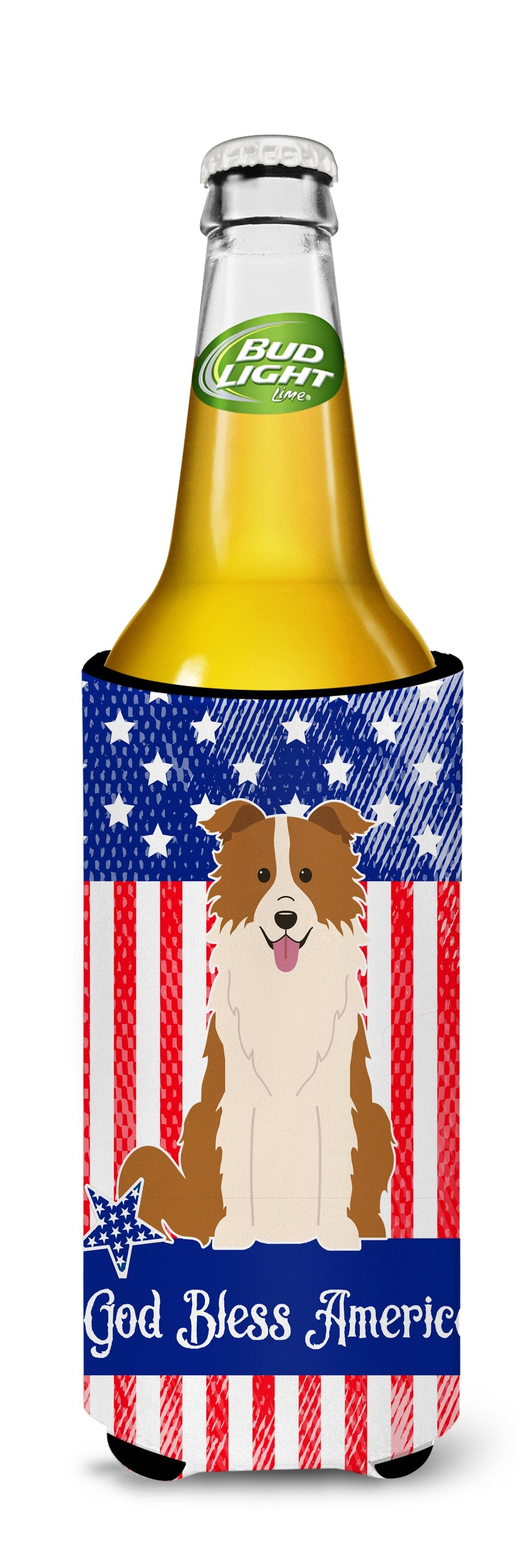 Patriotic USA Border Collie Red White Michelob Ultra Hugger for slim cans BB3114MUK by Caroline's Treasures