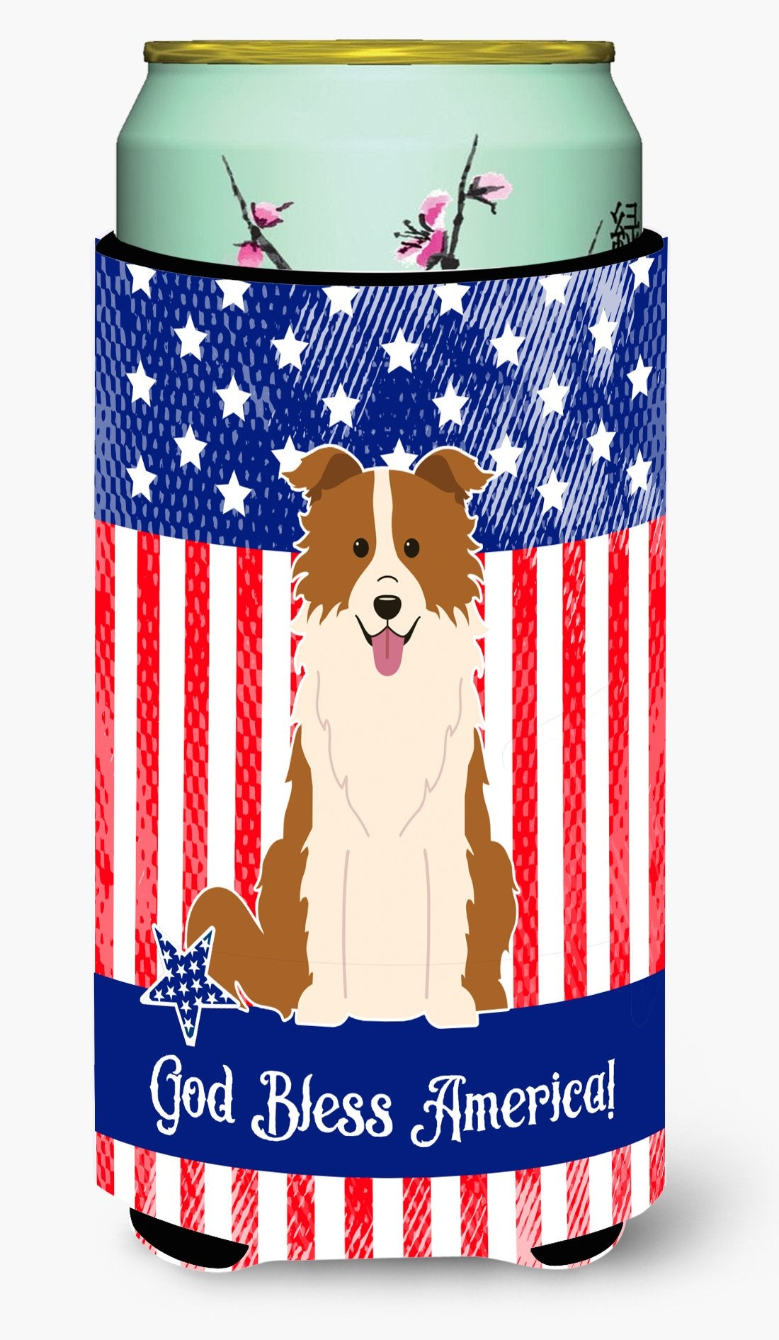 Patriotic USA Border Collie Red White Tall Boy Beverage Insulator Hugger by Caroline's Treasures
