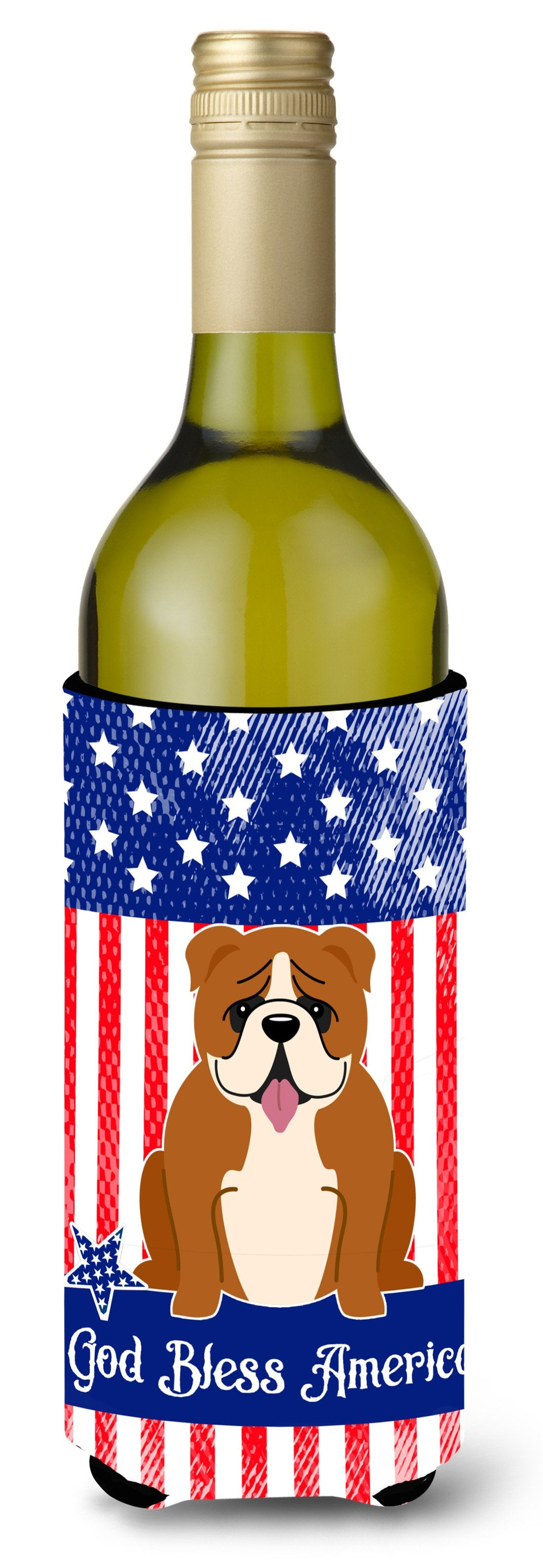 Buy this Patriotic USA English Bulldog Red White Wine Bottle Beverge Insulator Hugger