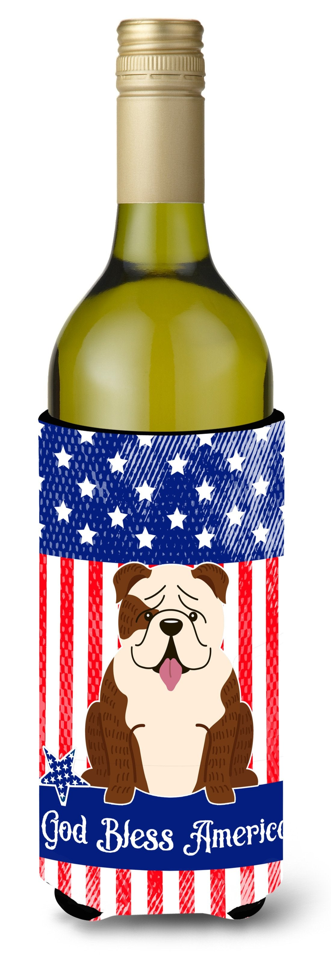 Patriotic USA English Bulldog Brindle White Wine Bottle Beverge Insulator Hugger BB3116LITERK by Caroline's Treasures