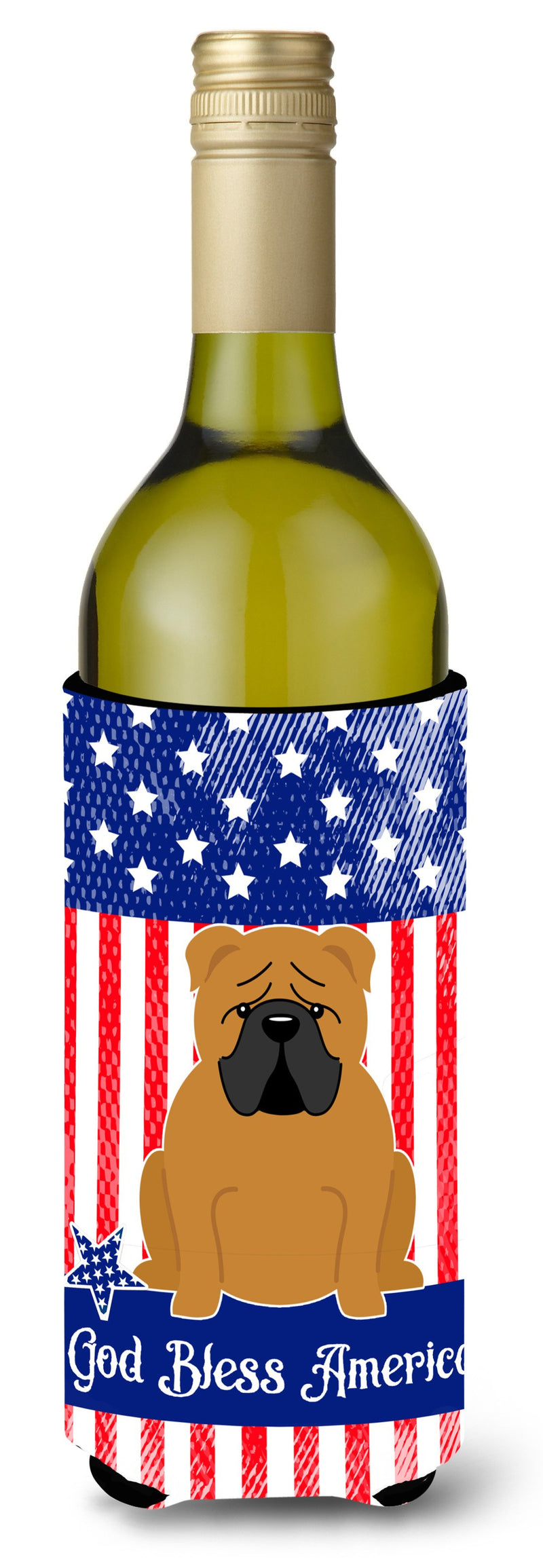 Buy this Patriotic USA English Bulldog Red Wine Bottle Beverge Insulator Hugger