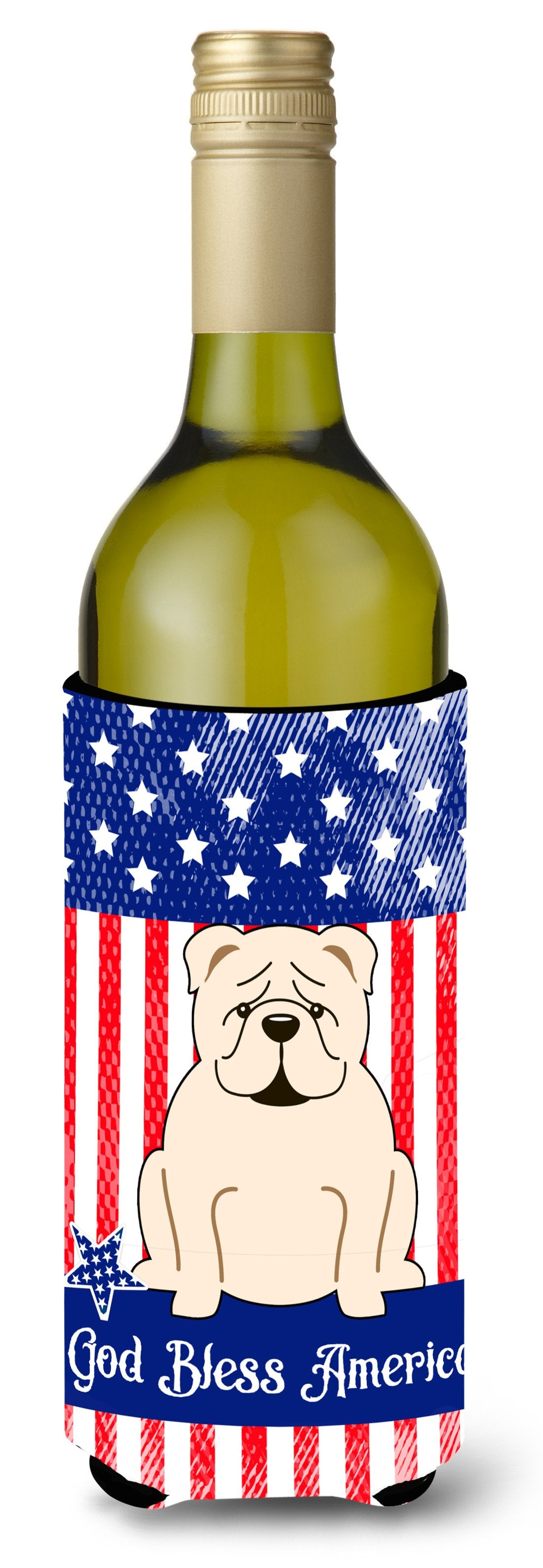Buy this Patriotic USA English Bulldog White Wine Bottle Beverge Insulator Hugger BB3118LITERK