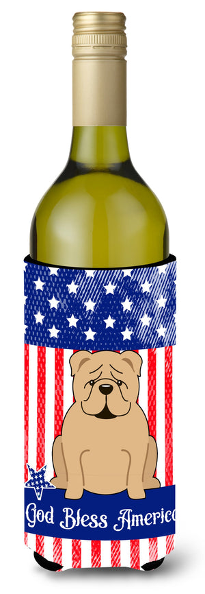 Buy this Patriotic USA English Bulldog Fawn Wine Bottle Beverge Insulator Hugger BB3119LITERK