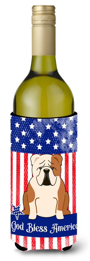 Buy this Patriotic USA English Bulldog Fawn White Wine Bottle Beverge Insulator Hugger BB3120LITERK