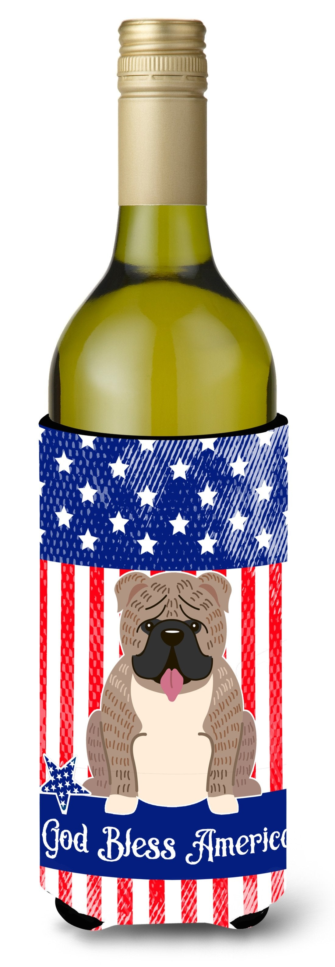 Patriotic USA English Bulldog Grey Brindle  Wine Bottle Beverge Insulator Hugger BB3121LITERK by Caroline's Treasures