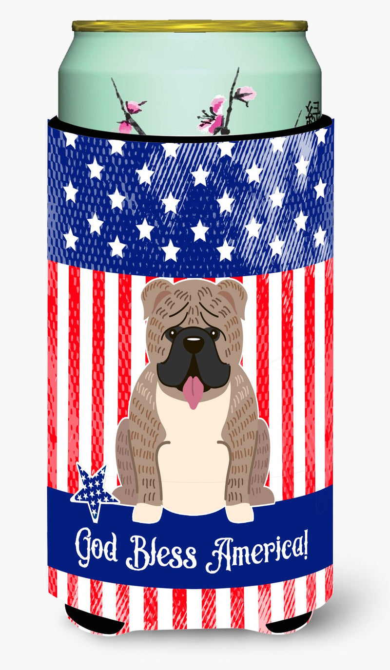 Buy this Patriotic USA English Bulldog Grey Brindle Tall Boy Beverage Insulator Hugger