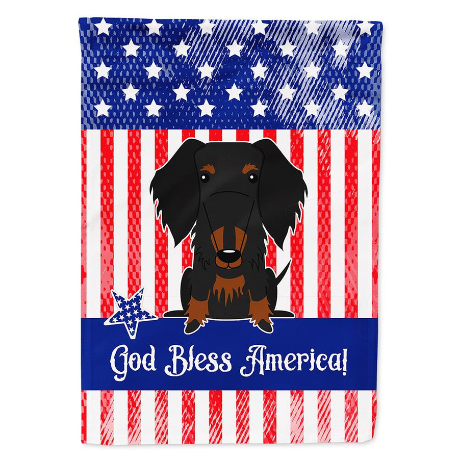 Buy this Patriotic USA Wire Haired Dachshund Black Tan Flag Garden Size
