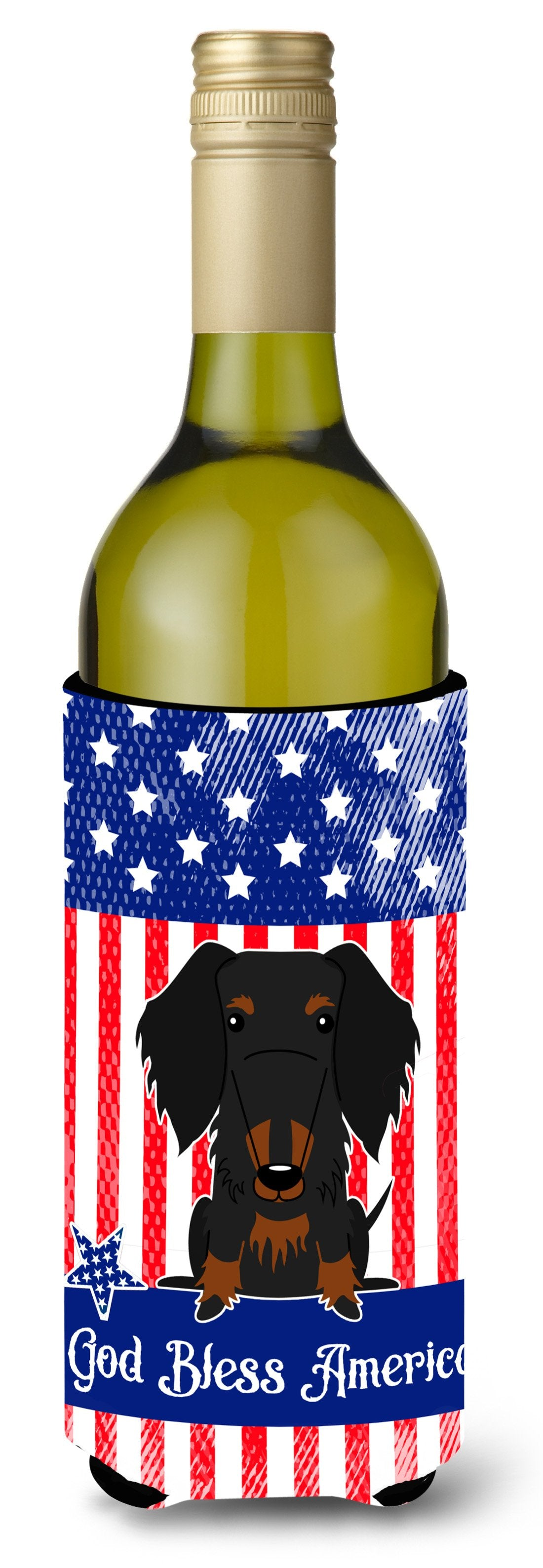 Buy this Patriotic USA Wire Haired Dachshund Black Tan Wine Bottle Beverge Insulator Hugger BB3122LITERK