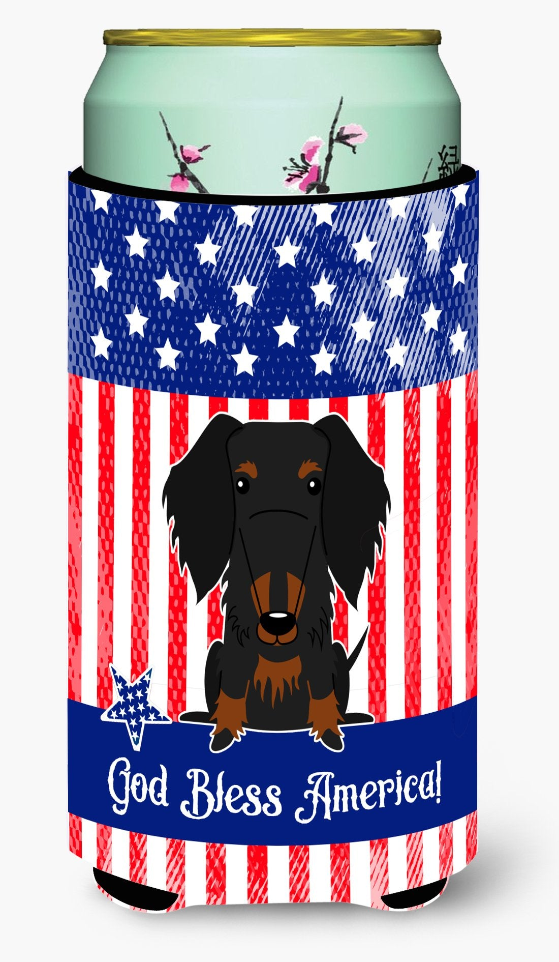 Buy this Patriotic USA Wire Haired Dachshund Black Tan Tall Boy Beverage Insulator Hugger