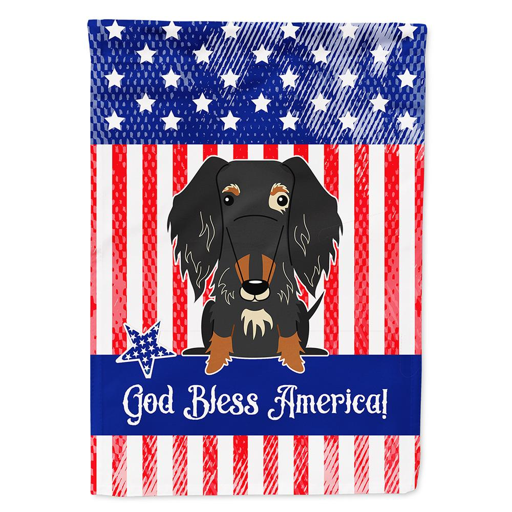 Patriotic USA Wire Haired Dachshund Dapple Flag Garden Size by Caroline's Treasures