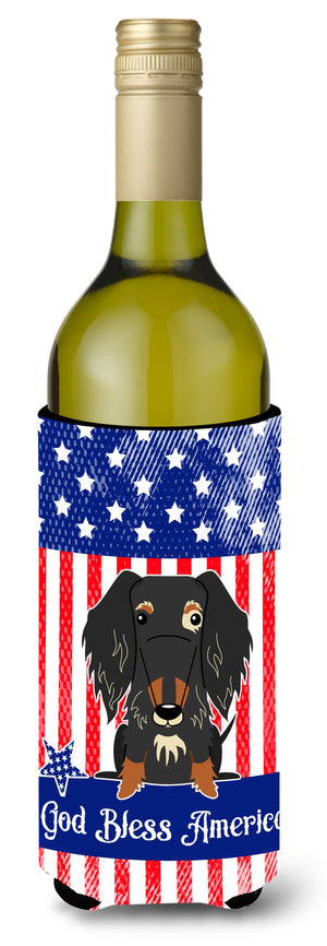 Buy this Patriotic USA Wire Haired Dachshund Dapple Wine Bottle Beverge Insulator Hugger