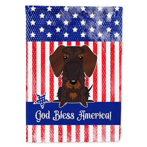 Buy this Patriotic USA Wire Haired Dachshund Chocolate Flag Garden Size