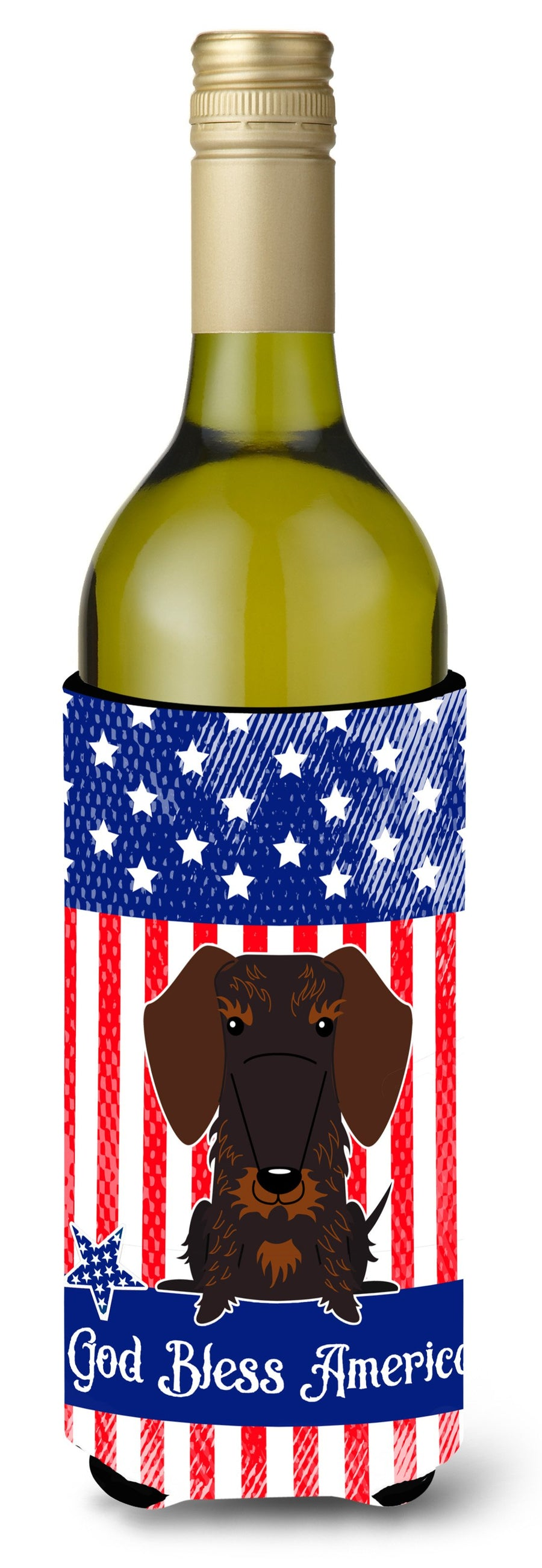 Buy this Patriotic USA Wire Haired Dachshund Chocolate Wine Bottle Beverge Insulator Hugger BB3124LITERK