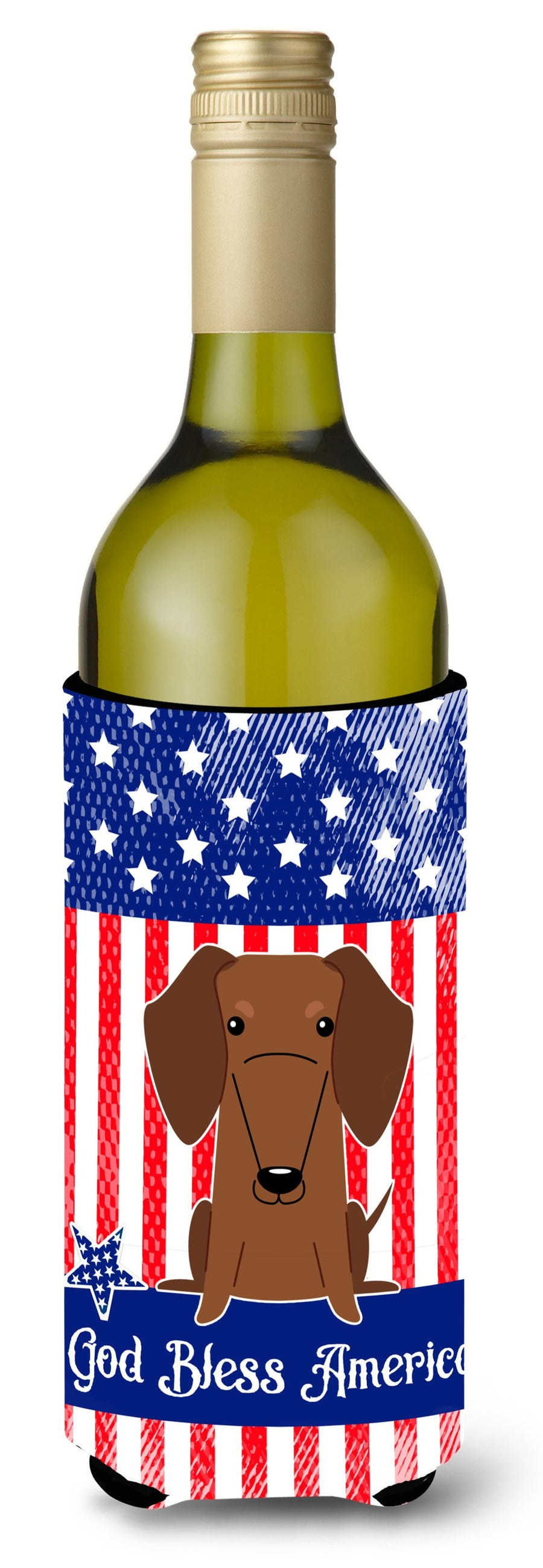 Buy this Patriotic USA Dachshund Red Brown Wine Bottle Beverge Insulator Hugger BB3125LITERK