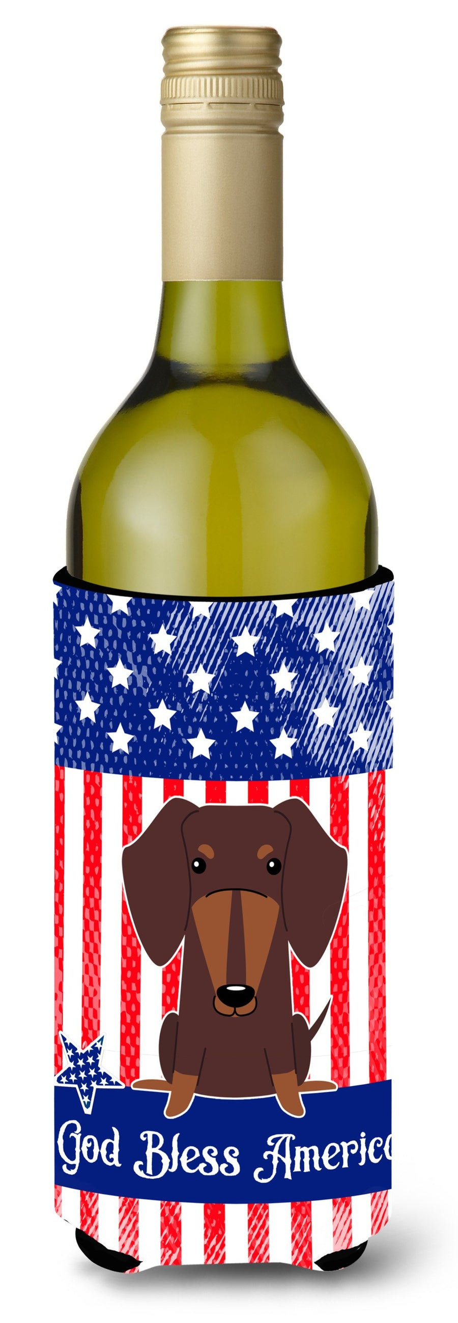 Buy this Patriotic USA Dachshund Chocolate Wine Bottle Beverge Insulator Hugger BB3126LITERK