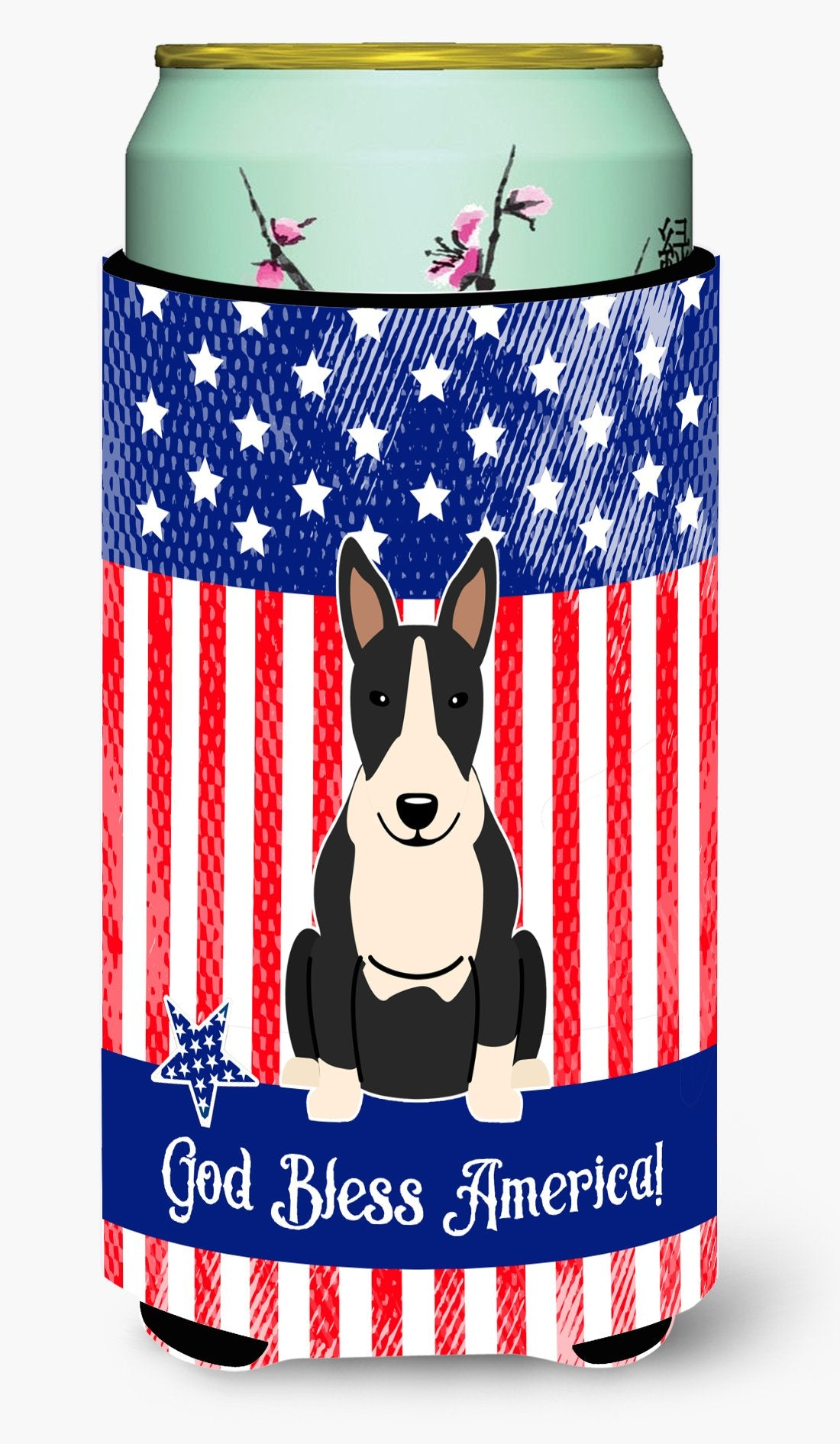 Patriotic USA Bull Terrier Black White Tall Boy Beverage Insulator Hugger by Caroline's Treasures