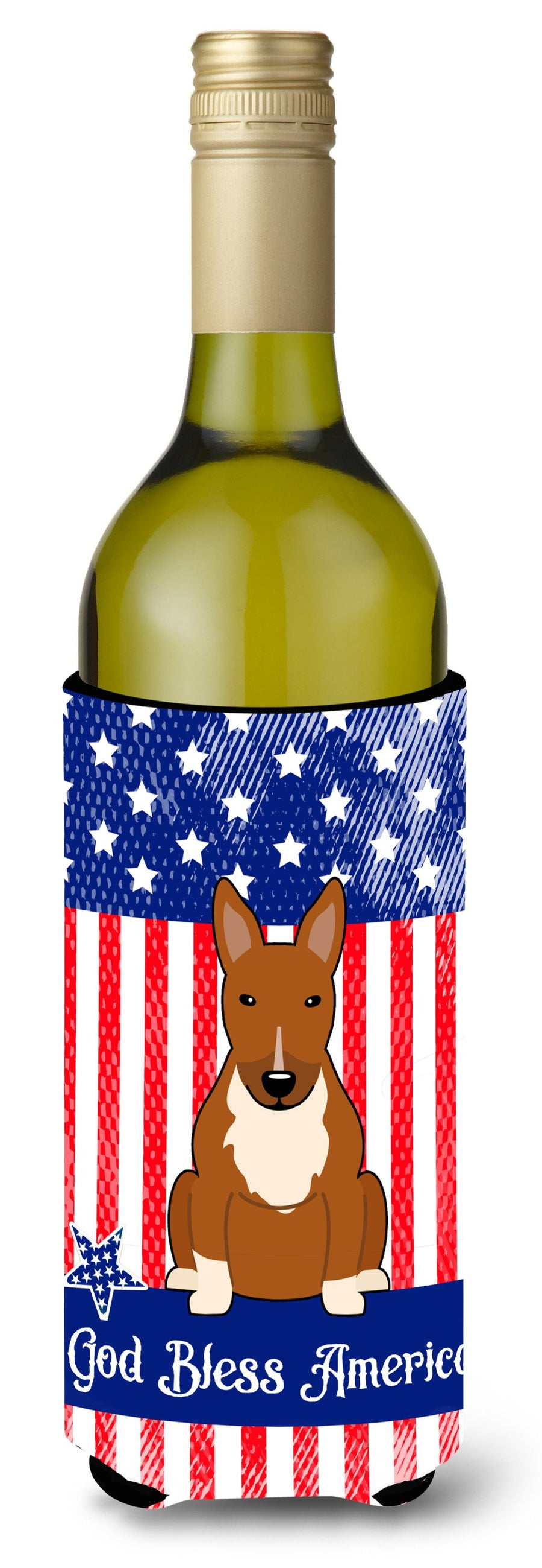 Buy this Patriotic USA Bull Terrier Red Wine Bottle Beverge Insulator Hugger BB3129LITERK