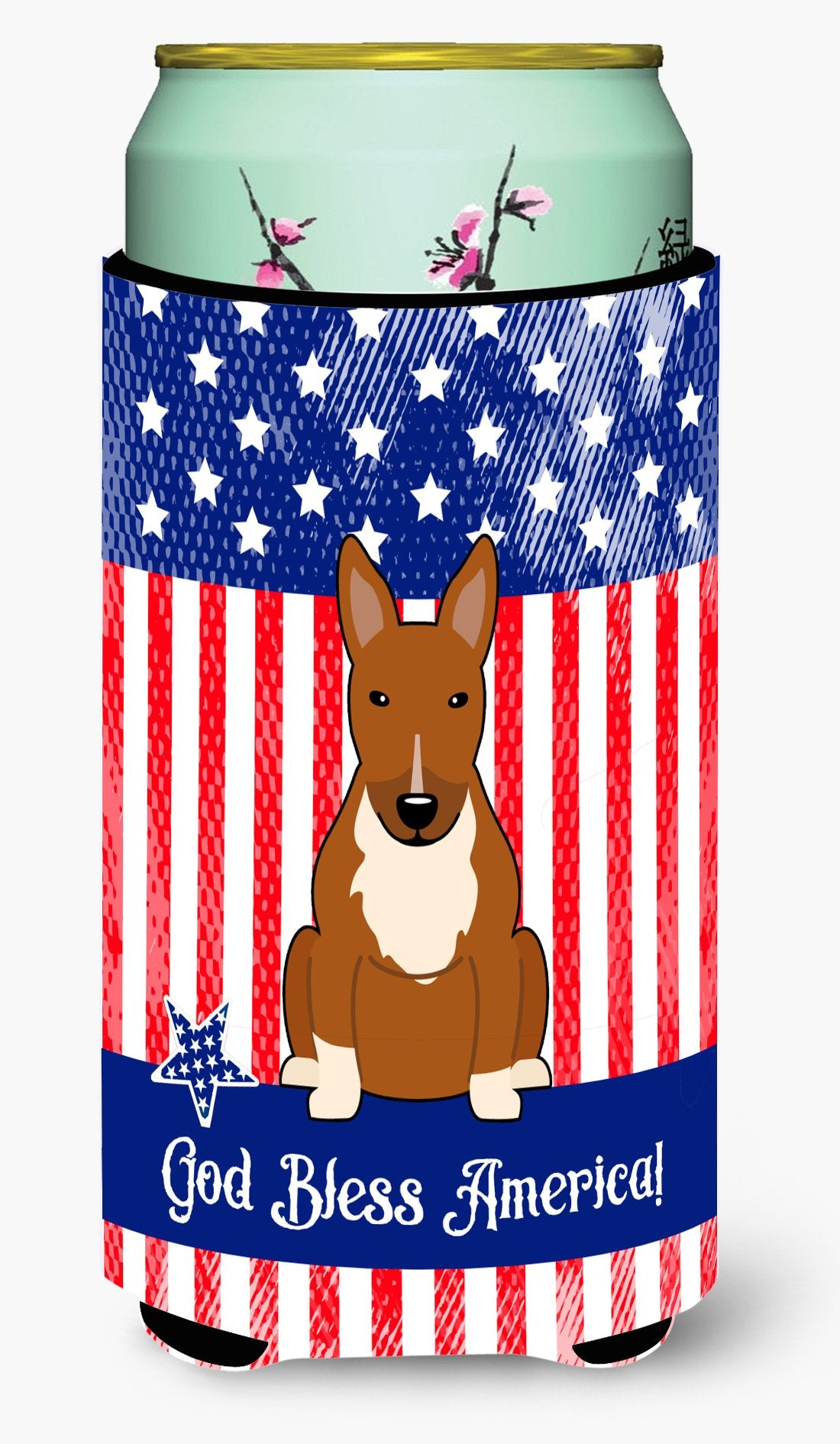 Patriotic USA Bull Terrier Red Tall Boy Beverage Insulator Hugger by Caroline's Treasures