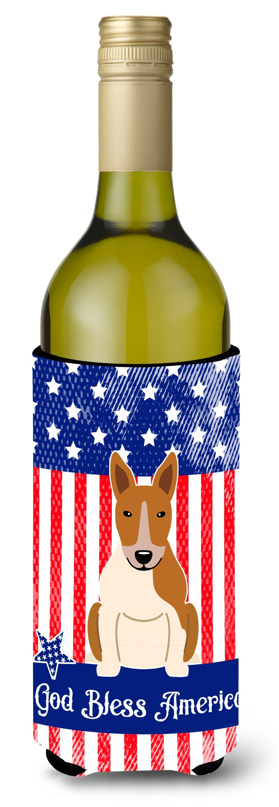 Buy this Patriotic USA Bull Terrier Red White Wine Bottle Beverge Insulator Hugger